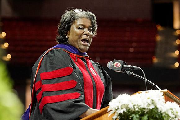 Ambassador Linda Thomas-Greenfield speaks at commencement